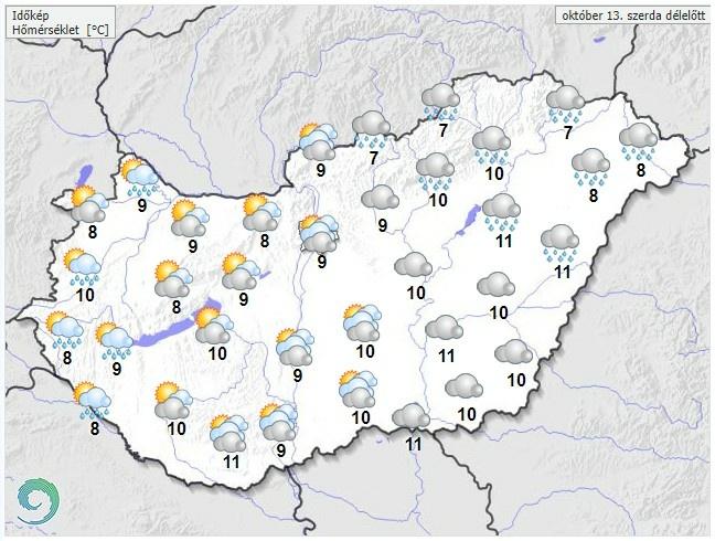 Időjárás-előrejelzés szerda délelőtte